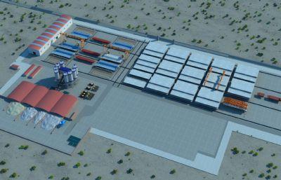 一箱梁预制场模型,包含箱梁模板,钢筋绑扎模板,龙门吊,运梁车,拌合站,箱梁静载实验设备等