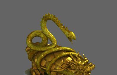 赑屃铜像,神像,龙龟,蛇,三渲二场景(自带vary灯光摄像机)