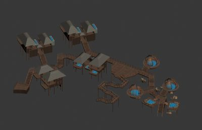 � 南���L格木屋�厝�池MAX模型