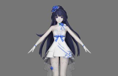 崩坏3芽衣-纯净永恒花嫁皮肤角色MAX模型,有OBJ白模