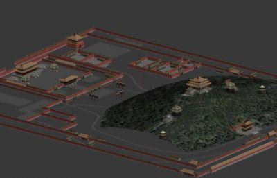 景山公园建筑整体MAX简模
