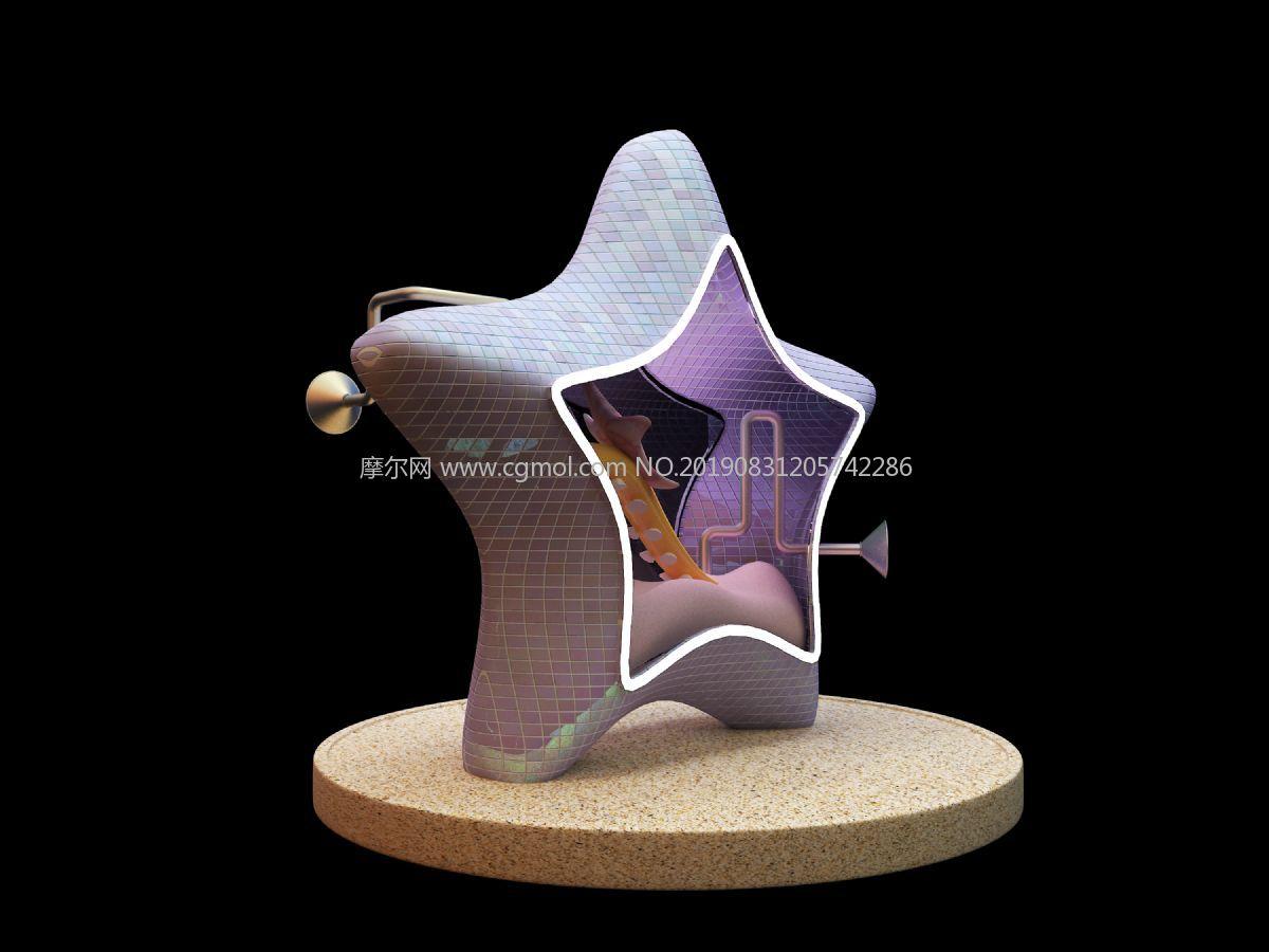 星星美陈,海星海洋,dp点,三个星星点位