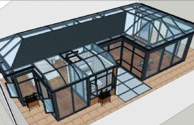 铝型材阳光房,卧室,健身房su模型