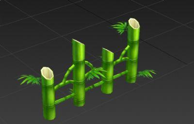 手绘竹子围栏3D模型