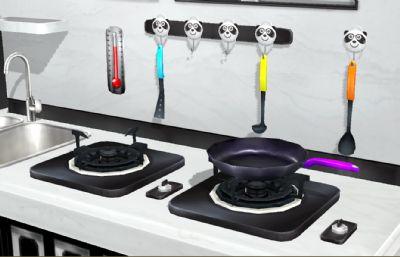 卡通灶台,燃气罩等厨房设备3D模型