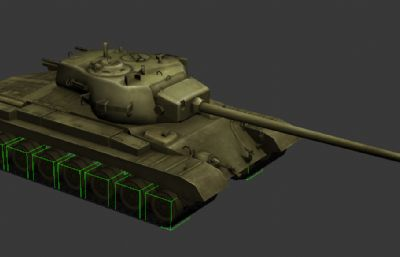 美��T32重型坦克3D模型