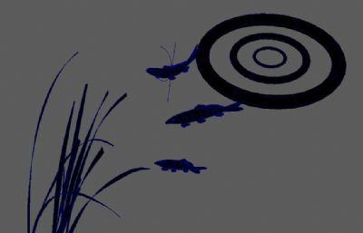 水墨风格的水草,鱼,波纹Maya模型