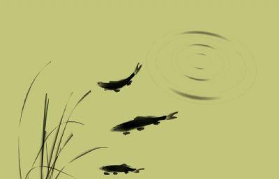 水墨�L格的水草,�~,波�yMaya模型