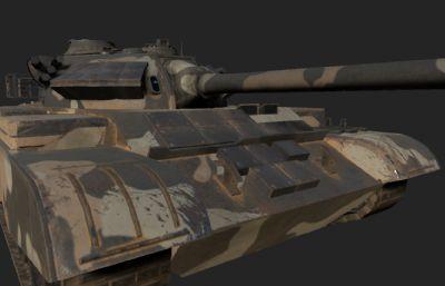 中国59坦克3D模型,PBR材质,赤电迷彩,沙漠迷彩,雪地迷彩等多套贴图(网盘下载)