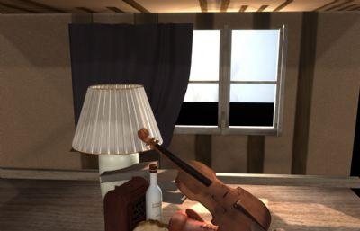 提琴,拳套,�_�舻却芭_�o物Maya模型