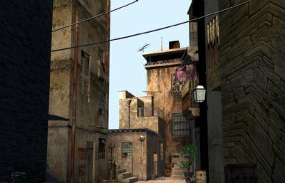 民宅,老住房�^道巷子�鼍�maya模型
