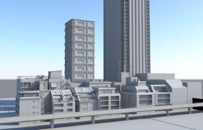 �k公住宅及周�商�I��鼍�maya模型