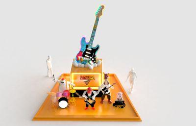 卡通美陈,吉他雕塑乐队,广场雕塑3D模型,可打印