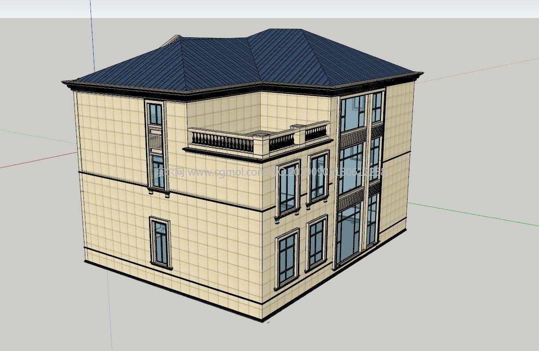 中西結合三層別墅小樓su模型