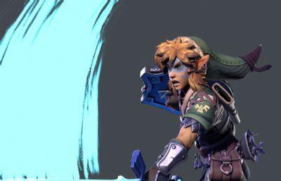 塞尔达传说主角Link林克maya模型,带绑定,带完整贴图