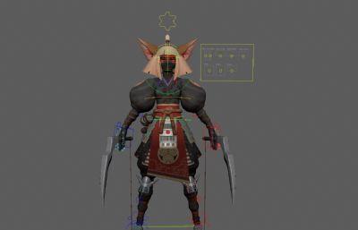 塞���_�髡fShinobi忍者刺客Maya模型,��完整�N�D,�Ы�定