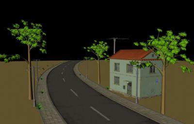 城�公路及周�房屋�淠�鼍�Maya模型