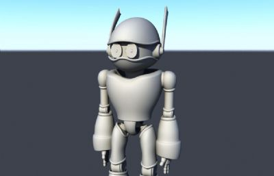 戴眼�R的卡通�C器人maya模型