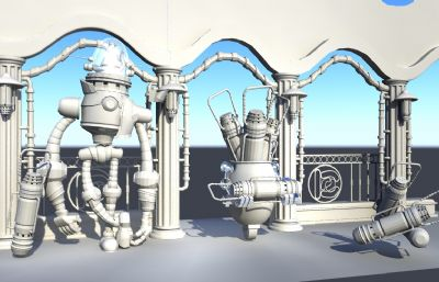 小�C器人和他的科幻武器,道具展示�鼍�Maya模型