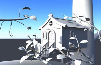 树屋,大树上的木房子maya模型