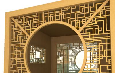 中式古典茶室,品茶厅maya模型