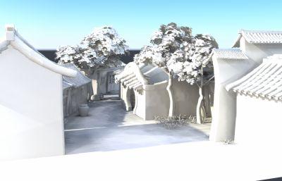 卡通�子里的后院街道�鼍�maya模型