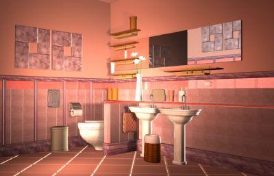 偏美式的卫生间maya模型,贴图全