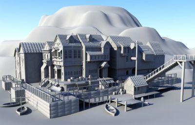 ��外小型�a�^港口Maya模型