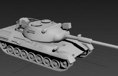 豹1坦克3D模型白模