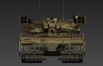 梅卡瓦沙漠涂裝主戰坦克3D模型, 火箭發射器,機槍等游戲全套裝備