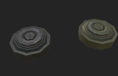 游�蛑械能�用地雷3D模型