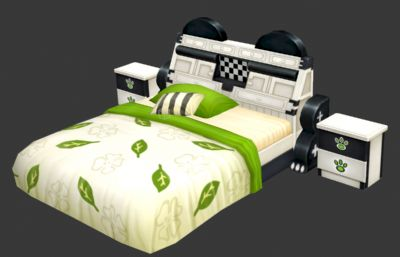 卡通森林風格床,床頭柜max模型