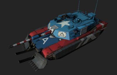 美��M1A1坦克星�l涂�b3D模型