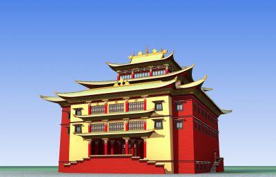 大型藏族�L格寺�R3D模型