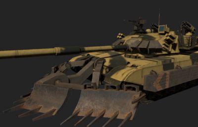 游戏中96坦克全套装备3D模型,PBR材质