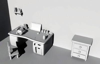 卡通房間書桌場景Maya模型
