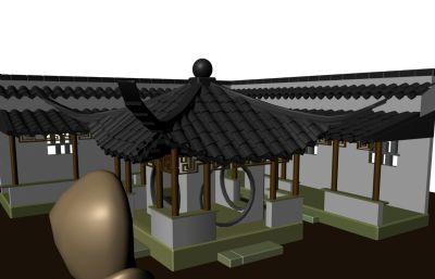 �@林�L格亭子走廊Maya模型
