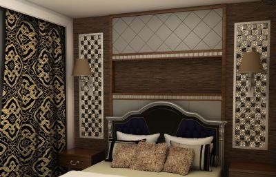 ?#26800;?#27431;美风的客厅,卧室整体设计maya模型,无贴图