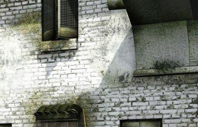 苏式古镇小河青砖码头场景maya模型