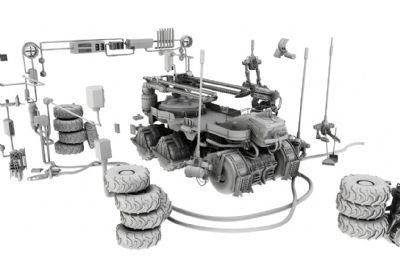 装甲车,步战车维修基地场景maya模型