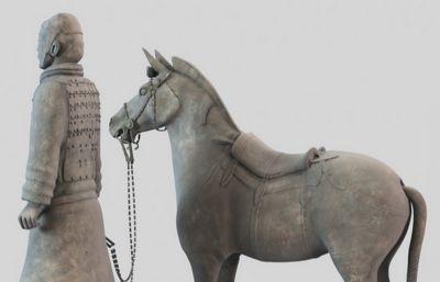 超精细牵马的马夫,骑兵兵马俑3DMAX精细模型