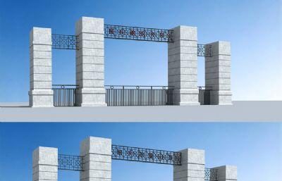 重庆建筑大学B区学校大门3D模型