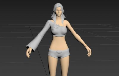 游戏里的女战士3D模型白模