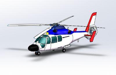 直9直升机solidworks图纸模型