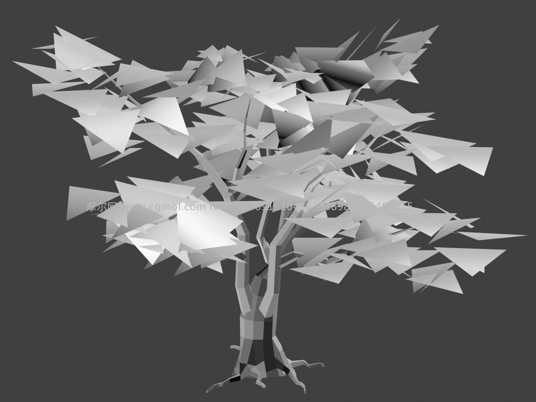 低模树3D模型白模