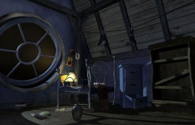 黑夜卡通阁楼场景maya模型