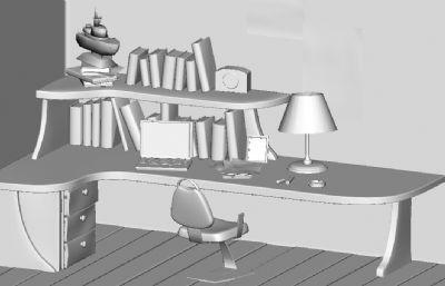 家庭办公书桌场景maya模型