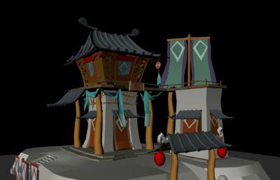 卡通风格古代赌场建筑maya模型,有材质