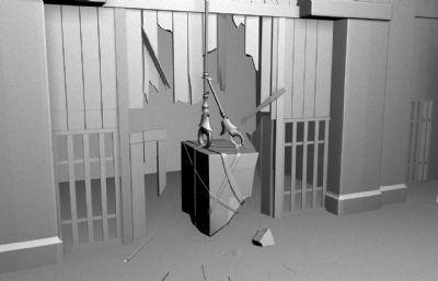 破烂的室内走道大门场景maya模型