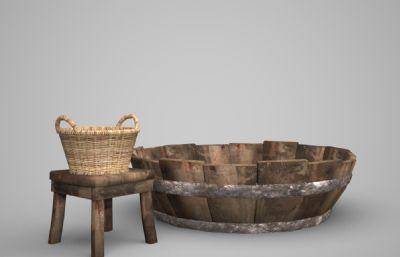 竹编菜篮,木盆等农家工具物品3D模型